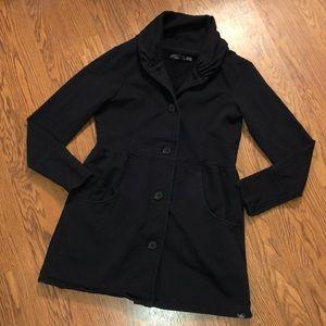 PrAna | Long Black Button Up Sweatshirt Jacket